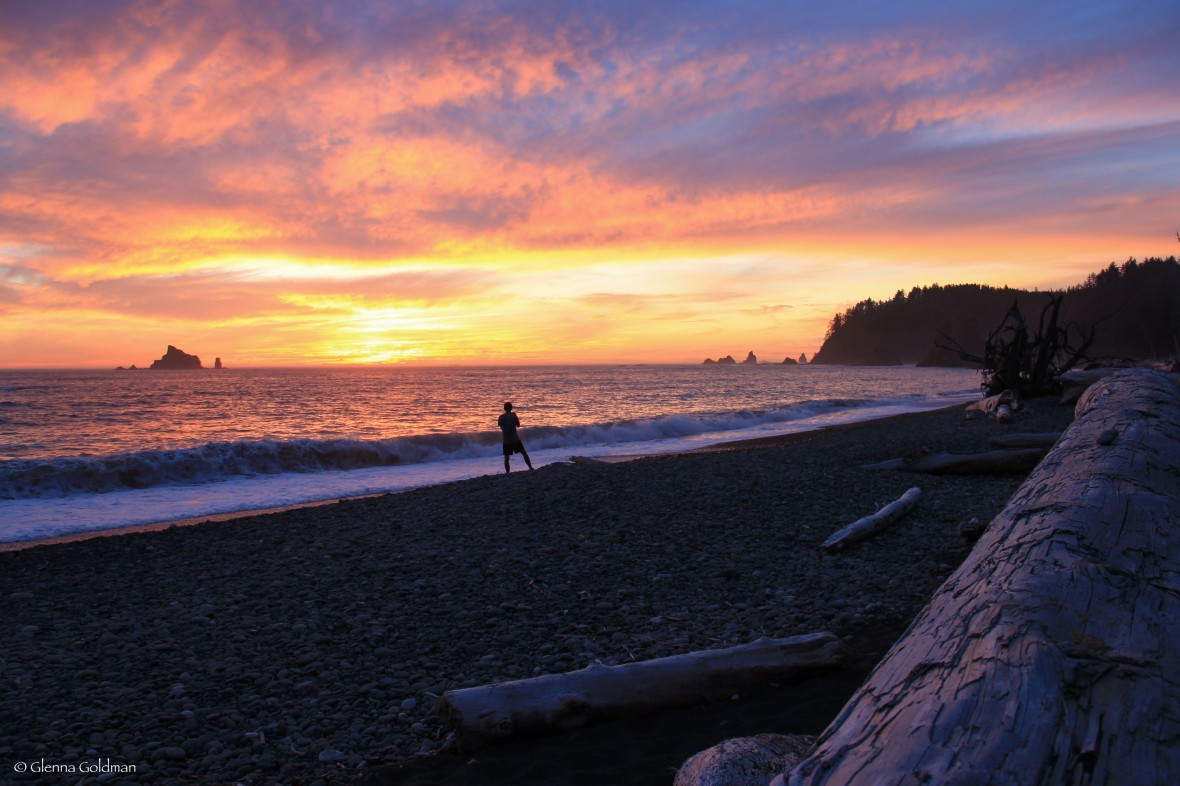 Sunset on Rialto Beach in Olympic National Park