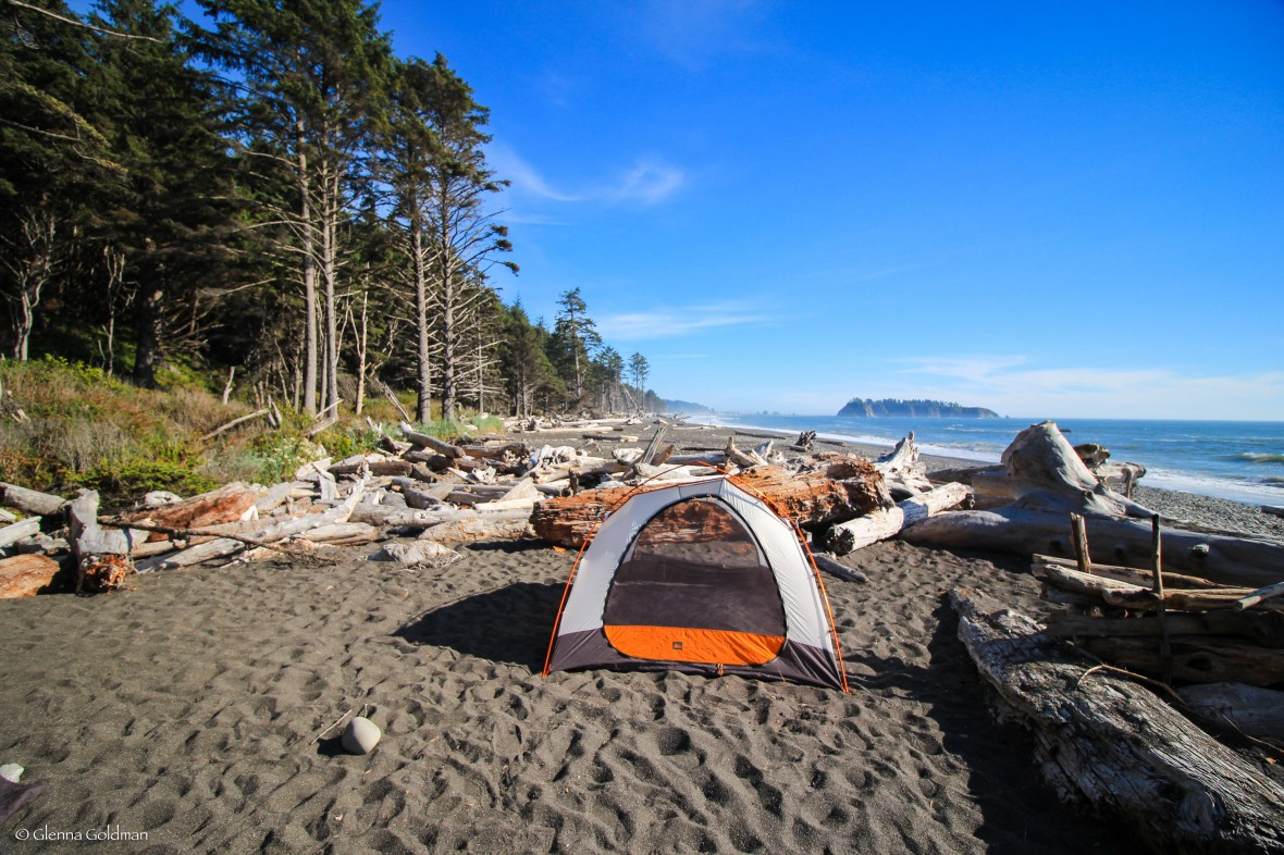 Rialto Beach camping in Olympic National Park, Washington