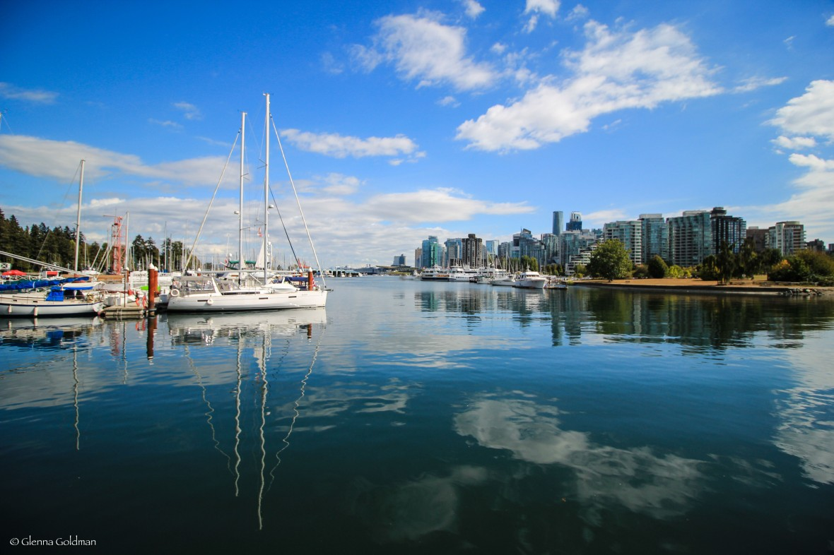 Sailboat across from Downtown in Vancouver