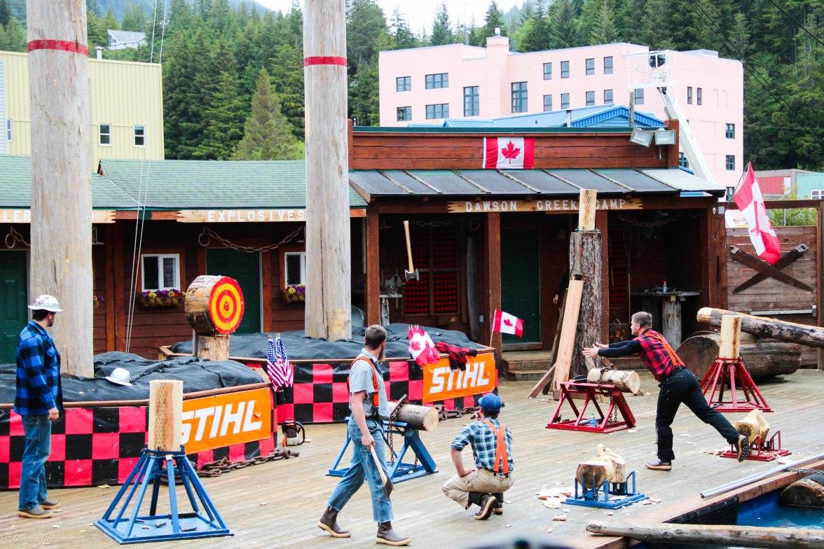 Lumberjack Show Ketchikan Alaskan Cruise Axe Throwing